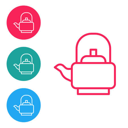 Red line Kettle with handle icon isolated on white background. Teapot icon. Set icons in circle buttons. Vector  イラスト・ベクター素材
