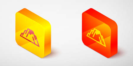Isometric line Volcano eruption with lava icon isolated on grey background. Yellow and orange square button. Vector