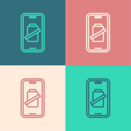 Pop art line Smartphone battery charge icon isolated on color background. Phone with a low battery charge. Vector Ilustração