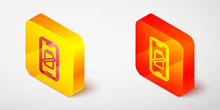 Isometric line Smartphone battery charge icon isolated on grey background. Phone with a low battery charge. Yellow and orange square button. Vector