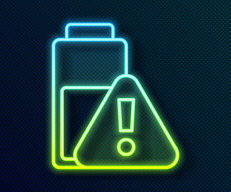 Glowing neon line Smartphone battery charge icon isolated on black background. Phone with a low battery charge. Vector