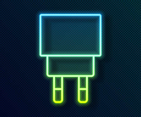 Glowing neon line Charger icon isolated on black background. Vector