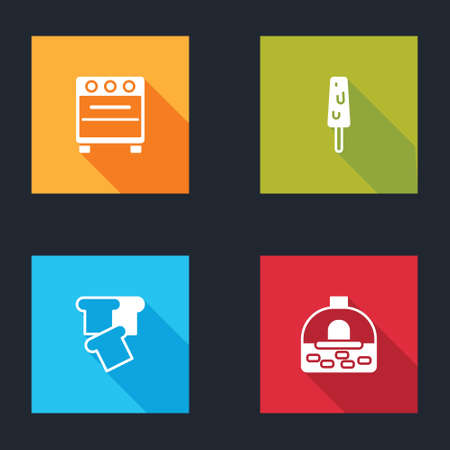 Set Oven, Ice cream, Bread toast and Brick stove icon. Vector