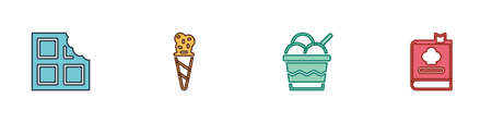 Set Chocolate bar, Ice cream in waffle cone, bowl and Cookbook icon. Vector