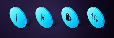 Set Isometric USB cable cord, Phone repair service, Smartphone battery charge and Screwdriver icon. Vector Ilustração
