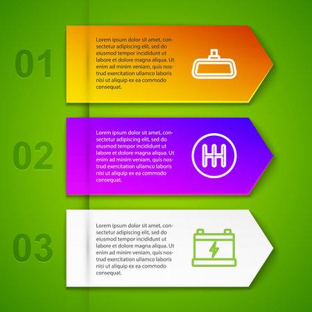 Set line Car mirror, Gear shifter and battery. Business infographic template. Vector Ilustração