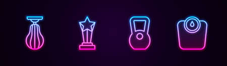 Set line Punching bag, Award cup, Kettlebell and Bathroom scales. Glowing neon icon. Vector