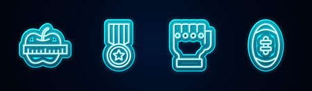 Set line Apple and measuring tape, Medal, MMA glove and American Football ball. Glowing neon icon. Vector Ilustracja