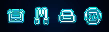 Set line Stopwatch, Jump rope, Sport bag and Boxing helmet. Glowing neon icon. Vector
