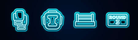 Set line Boxing glove, helmet, ring and board. Glowing neon icon. Vector
