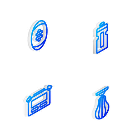 Set Isometric line Fitness shaker, American Football ball, Stopwatch and Punching bag icon. Vector