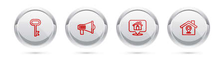 Set line House key, Megaphone, Location with house and . Silver circle button. Vector
