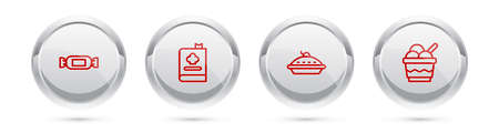 Set line Candy, Cookbook, Homemade pie and Ice cream in bowl. Silver circle button. Vector