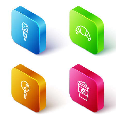 Set Isometric line Ice cream in waffle cone, Croissant, Lollipop and Coffee cup to go icon. Vector
