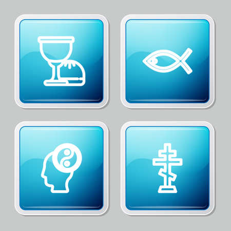 Set line Holy grail or chalice, Christian fish, Yin Yang and cross icon. Vector
