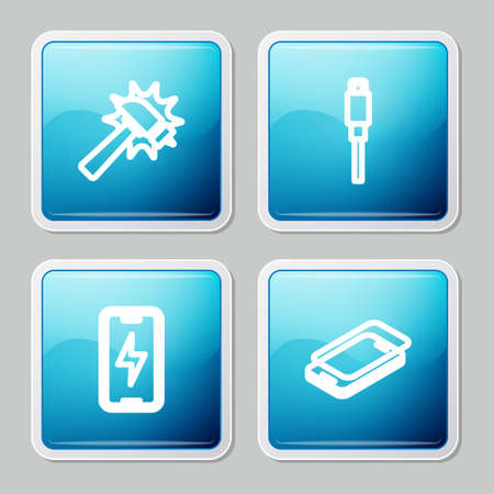 Set line Hammer, USB cable cord, Mobile charging battery and Glass screen protector icon. Vector Ilustração