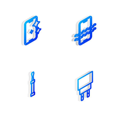 Set Isometric line Waterproof phone, Glass screen protector, Screwdriver and Charger icon. Vector