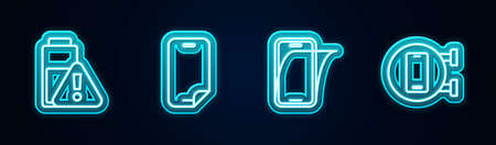 Set line Smartphone battery charge, Glass screen protector, and Phone repair service. Glowing neon icon. Vector