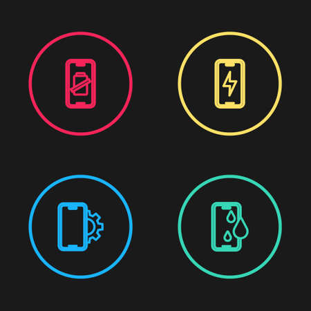 Set line Phone repair service, Waterproof phone, Mobile charging battery and Smartphone charge icon. Vector
