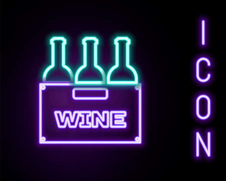 Glowing neon line Bottles of wine in a wooden box icon isolated on black background. Wine bottles in a wooden crate icon. Colorful outline concept. Vector Vecteurs
