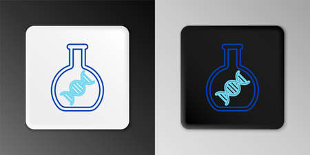 Line DNA research, search icon isolated on grey background. Genetic engineering, genetics testing, cloning, paternity testing. Colorful outline concept. Vector