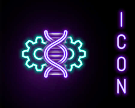 Glowing neon line Gene editing icon isolated on black background. Genetic engineering. DNA researching, research. Colorful outline concept. Vector