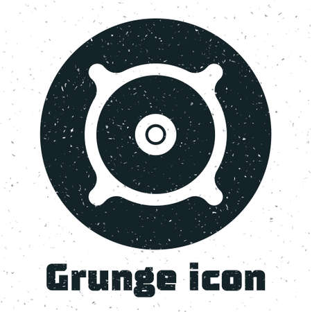 Grunge Car audio speaker icon isolated on white background. Monochrome vintage drawing. Vector