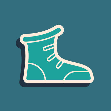 Green Sport boxing shoes icon isolated on green background. Wrestling shoes. Long shadow style. Vector