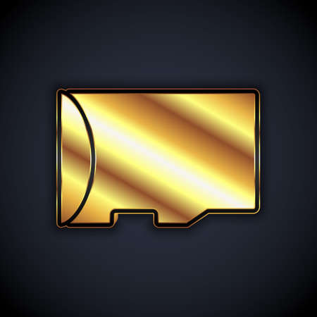 Gold Micro SD memory card icon isolated on black background. Vector Иллюстрация