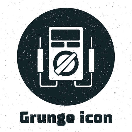 Grunge Ampere meter, multimeter, voltmeter icon isolated on white background. Instruments for measurement of electric current. Monochrome vintage drawing. Vector