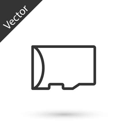 Grey line Micro SD memory card icon isolated on white background. Vector