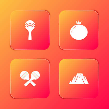Set Maracas, Tomato, and Volcano eruption with lava icon. Vector 向量圖像