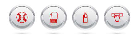 Set line Baseball ball, Boxing glove, Punching bag and Groin guard. Silver circle button. Vector