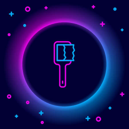 Glowing neon line Sauna brush icon isolated on black background. Wooden brush with coarse bristles for washing in the bath. Anti cellulite massage. Colorful outline concept. Vector