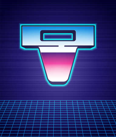 Retro style Groin guard for martial arts icon isolated futuristic landscape background. 80s fashion party. Vector