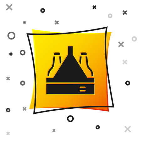 Black Pack of beer bottles icon isolated on white background. Case crate beer box sign. Yellow square button. Vector