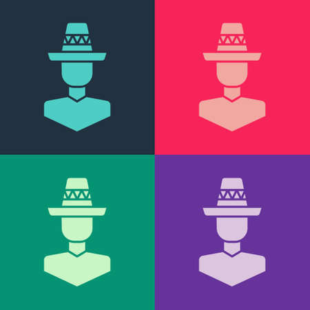 Pop art Mexican man wearing sombrero icon isolated on color background. Hispanic man with a mustache. Vector