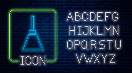 Glowing neon Lamp icon isolated on brick wall background. Neon light alphabet. Vector Ilustração