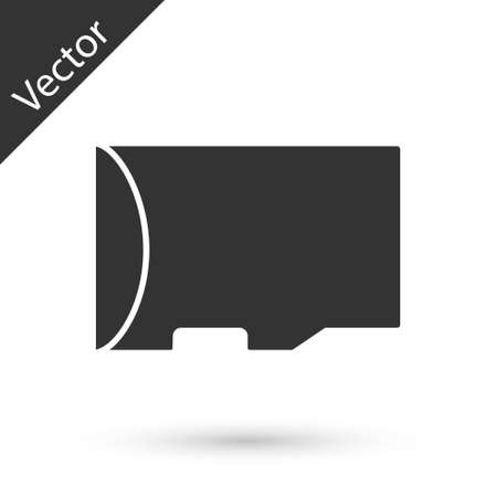 Grey Micro SD memory card icon isolated on white background. Vector