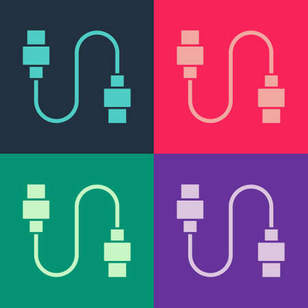Pop art USB cable cord icon isolated on color background. Connectors and sockets for PC and mobile devices. Vector