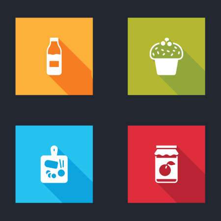 Set Bottle with milk, Cake, Cutting board and Jam jar icon. Vector
