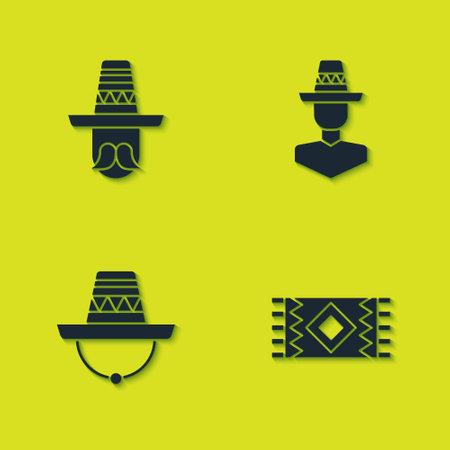 Set Mexican man with sombrero and carpet icon. Vector