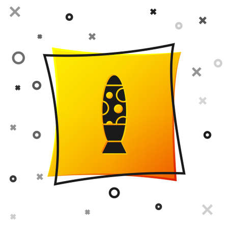 Black Floor lamp icon isolated on white background. Yellow square button. Vector