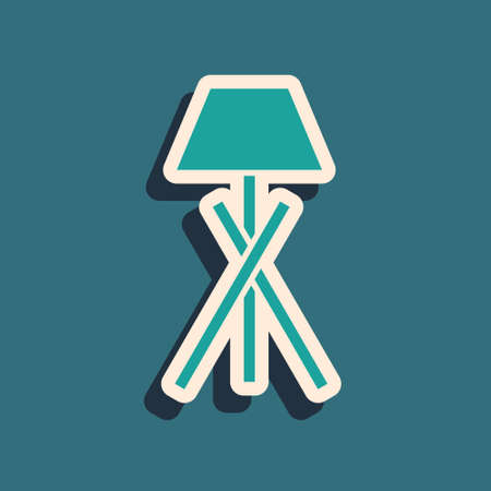 Green Floor lamp icon isolated on green background. Long shadow style. Vector
