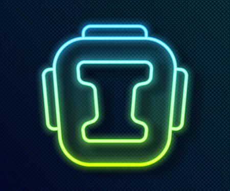 Glowing neon line Boxing helmet icon isolated on black background. Vector Ilustração Vetorial
