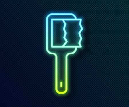 Glowing neon line Sauna brush icon isolated on black background. Wooden brush with coarse bristles for washing in the bath. Anti cellulite massage. Vector