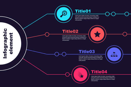 Set Search location, Star, Folder tree and Falling star. Business infographic template. Vector