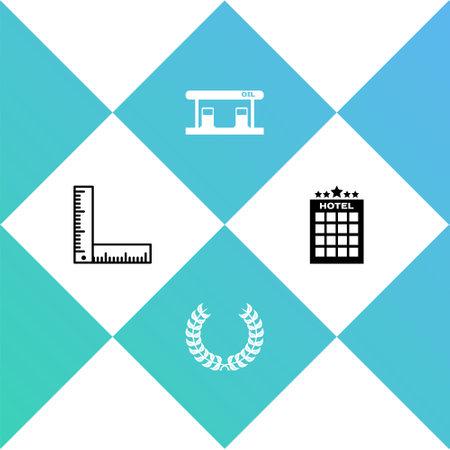 Set Folding ruler, Laurel wreath, Gas filling station and Hotel building icon. Vector Vektorgrafik