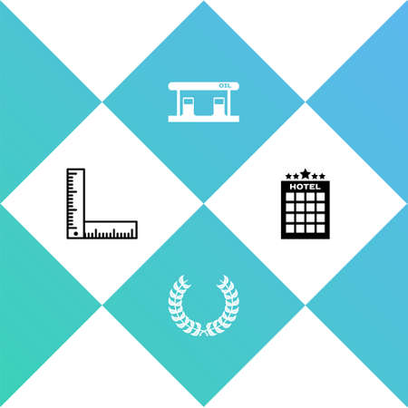 Set Folding ruler, Laurel wreath, Gas filling station and Hotel building icon. Vector