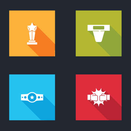 Set Award cup, Groin guard, Boxing belt and Punch boxing gloves icon. Vector